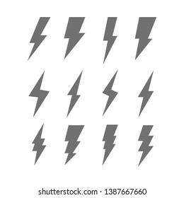 Flash thunderbolt vector icon set. Lightning thunder symbol collection.