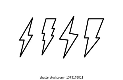 Flash thunderbolt vector icon set. Lightning thunder symbol collection.