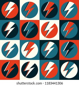 Flash vector. Lightning pop art illustration. Flat flash in circle for logo, poster, postcard, clothing print, flyer. Retro sign with isolated thunderbolt in pop art style. Red, blue and white logo.
