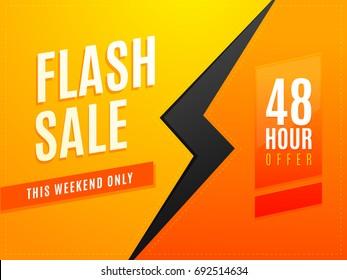 Flash weekend sale for 48  hours flyer design vector illustration
