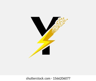 Flash Y Letter Logo Icon, Electrical Bolt With Circuit Line Shape and Initial Y Letter Logo Design.