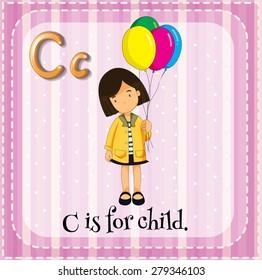 Flashcard alphabet C is for child