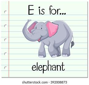 Flashcard alphabet E is for elephant illustration