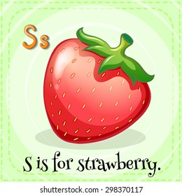 Flashcard of alphabet S is for strawberry