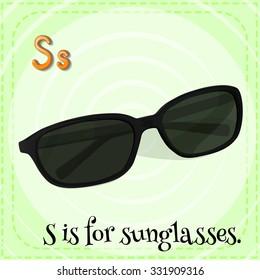Flashcard alphabet S is for sunglasses illustration