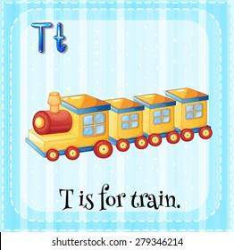Flashcard alphabet T is for train