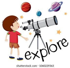 Flashcard for explore with kid looking through telescope illustration