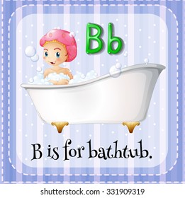 Flashcard letter B is for bathtub illustration