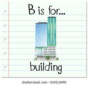 Flashcard letter B is for building illustration