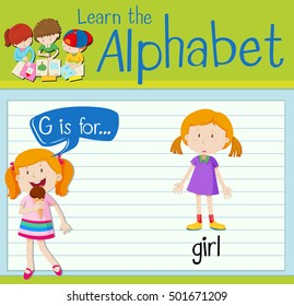 Flashcard letter G is for girl illustration