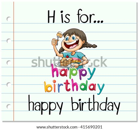 flashcard letter h is for happy birthday illustration