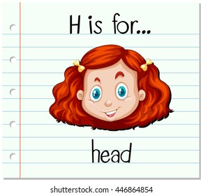 Flashcard letter H is for head illustration