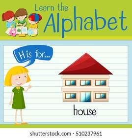 Flashcard letter H is for house illustration