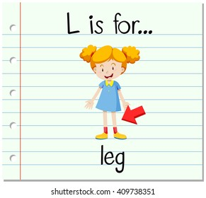 Flashcard letter L is for leg