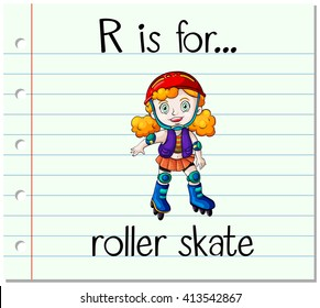 Flashcard letter R is for roller skate illustration