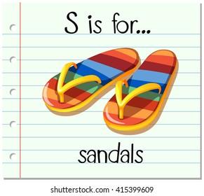 Flashcard letter S is for sandals illustration
