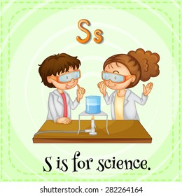 Flashcard letter S is for science