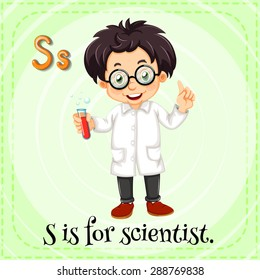 Flashcard letter S is for scientist