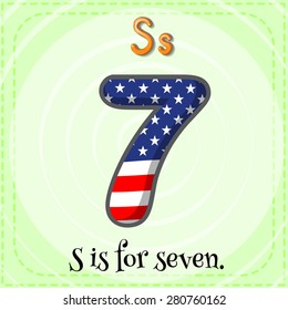 Flashcard letter S is for seven