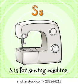 Flashcard letter S is for sewing machine