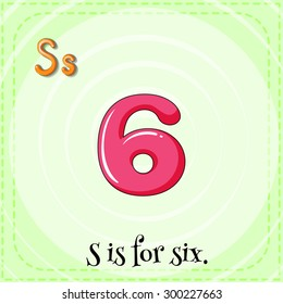 Flashcard letter S is for six