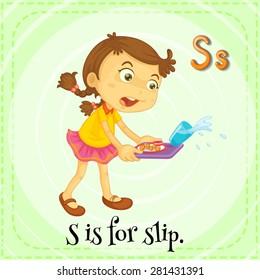 Flashcard letter S is for slip
