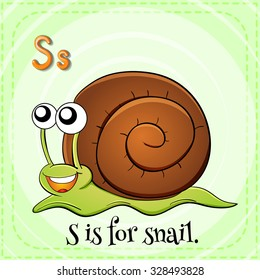Flashcard letter S is for snail illustration
