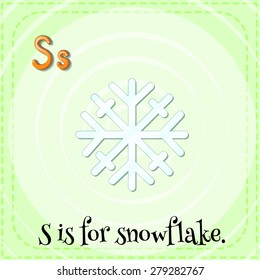 Flashcard letter S is for snowflake