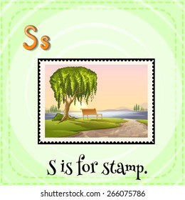 Flashcard letter S is for stamp