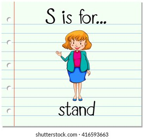 Flashcard letter S is for stand illustration