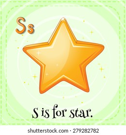 Flashcard letter S is for star