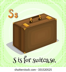 Flashcard letter S is for suitcase illustration
