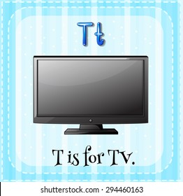 Flashcard letter T is for television