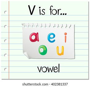 Flashcard letter V is for vowel illustration