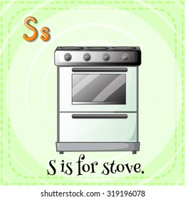 Flashcard of S if for stove  illustration