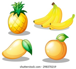 Flashcard of yellow color set with four fruits on white background