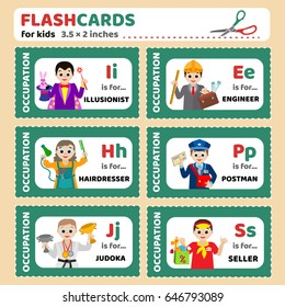 Flashcards for children with the names of professions (illusionist, engineer, hairdresser, postman, judoka, seller). Vector images for kid education, for kindergarten, for school, for illustration