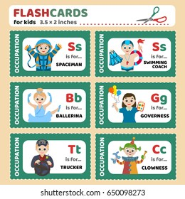 Flashcards for children with the names of professions (spaceman, swimming coach, ballerina, Trucker, governess, Clowness). Vector images for kid education, for kindergarten, for school
