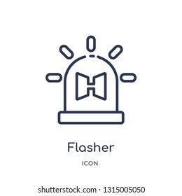 flasher icon from security outline collection. Thin line flasher icon isolated on white background.