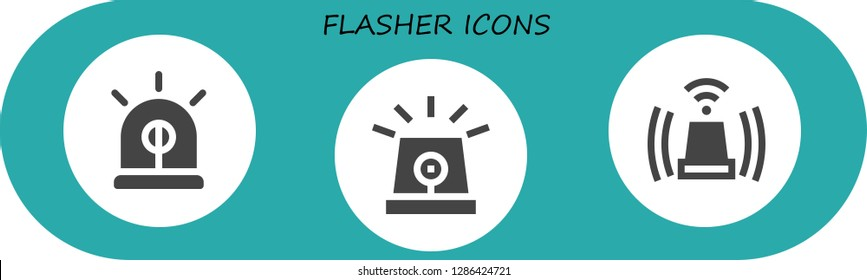flasher icon set. 3 filled flasher icons. Simple modern icons about  - Siren