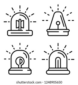 Flasher icon set. Outline set of flasher vector icons for web design isolated on white background