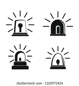 Flasher siren icons set. Simple illustration of 4 flasher siren icons for web