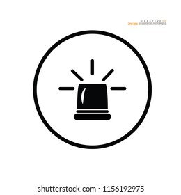 Flashing alarm signal. Police or ambulance  flasher siren. Flat style. Flasher alert icon.vector illustration.