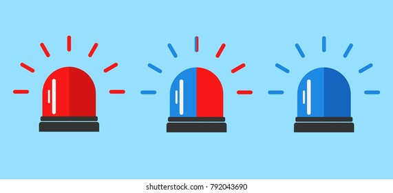 Flashing alarm signal. Police or ambulance red and blue flasher siren logo. Flat style. Flasher alert icon. Simple flat vector illustration