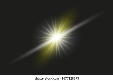 Flashing lens flares, glare lighting vector effects. Energy collection of a white star on a transparent background