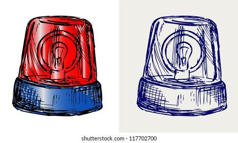 Flashing light. Doodle style