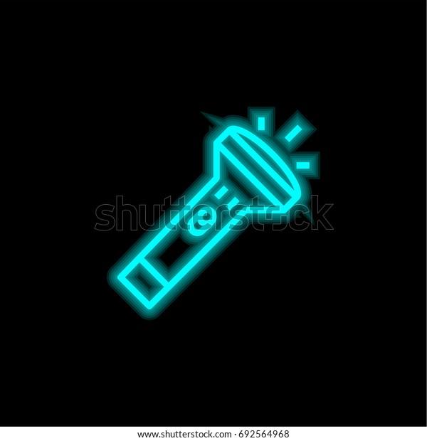 Flashlight blue glowing neon ui ux icon. Glowing sign logo vector