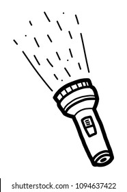 flashlight / cartoon vector and illustration, black and white, hand drawn, sketch style, isolated on white background.