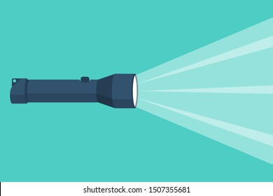 Flashlight flat icon with a bright beam. Electric lamp battery powered. Pocket flashlight. Light source. Vector illustration flat design. Isolated on white background.