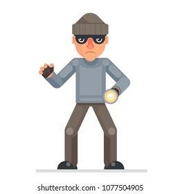 Flashlight grabbing hand evil greedily thief cartoon rogue bulgar character design flat isolated vector illustration